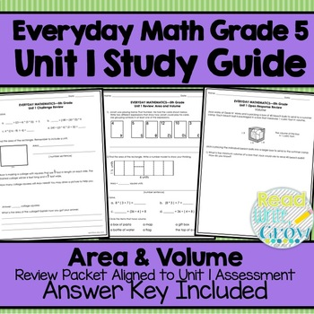 Everyday Math Grade 5 Unit 1 Review {Area and Volume}