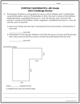 Everyday Math Grade 4 Unit 2 Review {Multiplication & Geometry}