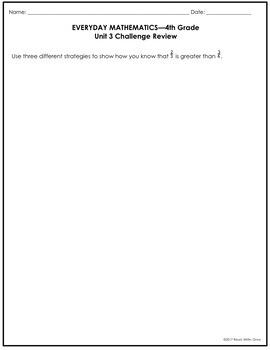 Everyday Math Grade 4 Unit 3 Review {Fractions & Decimals}