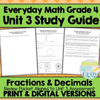 Everyday Math Grade 4 Unit 3 Review Fractions Decimals