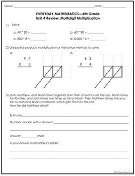 Everyday Math Grade 4 Unit 4 Review {Multidigit Multiplication}