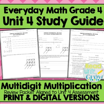Everyday Math Grade 4 Unit 4 Review {Multidigit Multiplication}
