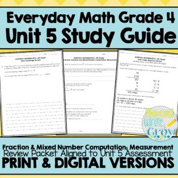 Everyday Math Grade 4 Unit 5 Review Fractions Measurement