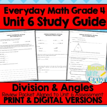 Everyday Math Grade 4 Unit 6 Review {Division & Angles}
