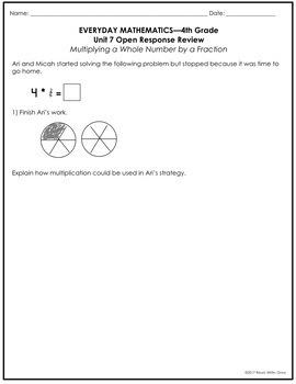 Everyday Math Grade 4 Unit 7 Review {Fraction Multiplication & Measurement}