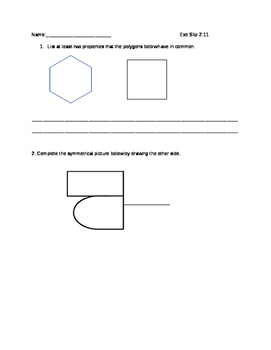 Everyday Math Grade 4 lesson 2.11 Exit Slips