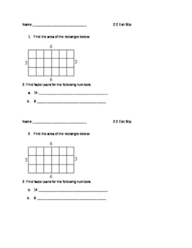 Everyday Math Grade 4 lesson 2.2 Exit Slips