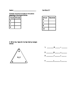 Everyday Math Grade 4 lesson 2.7 Exit Slips