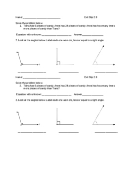 Everyday Math Grade 4 lesson 2.9 Exit Slips