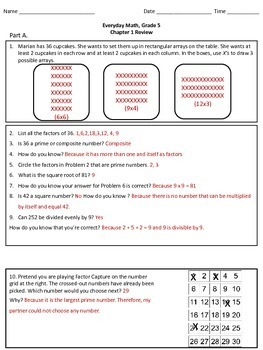 Everyday Math Grade 5 Chapter 1 Study Guide