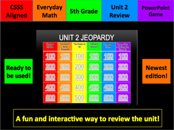 Everyday Math Grade 5 Unit 2 Math Jeopardy