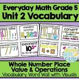Everyday Math: Grade 5-Unit 2 {Vocabulary Word Wall}