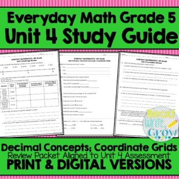 Everyday Math Grade 5 Unit 4 Review Decimals Coordinate