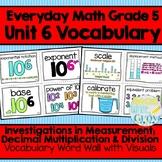 Everyday Math: Grade 5-Unit  6 {Vocabulary Word Wall}