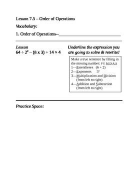 Everyday Math Notebook Gr 5 Unit 7 (EDM)