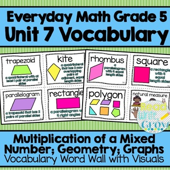 Everyday Math: Grade 5-Unit 7 {Vocabulary Word Wall}
