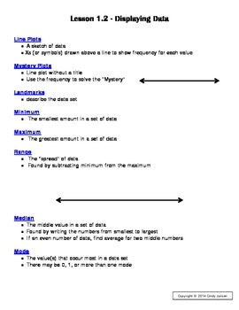 Everyday Math - Grade 6 Common Core - Unit 1 Complete Notes and Key Packet