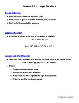 Everyday Math - Grade 6 Common Core - Unit 2 Notes and Study Guide