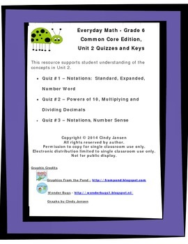 Everyday Math - Grade 6 Common Core - Unit 2 Quizzes and Keys