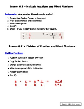 Everyday Math - Grade 6 Common Core - Unit 6 Notes and Study Guide
