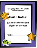 Everyday Math - Grade 6 Common Core - Unit 6 Notes and Stu