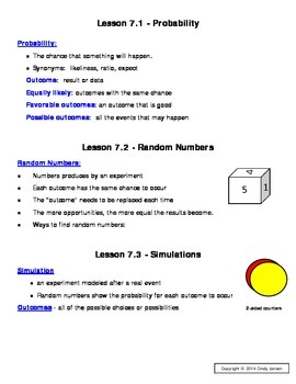 Everyday Math - Grade 6 Common Core - Unit 7 Notes and Study Guide