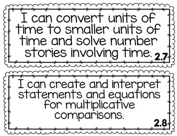 Everyday Math - I Can Statements/Objectives Units 1-8 {Grade 4}