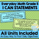 Everyday Math - I Can Statements/Objectives Units 1-8 {Grade 5}