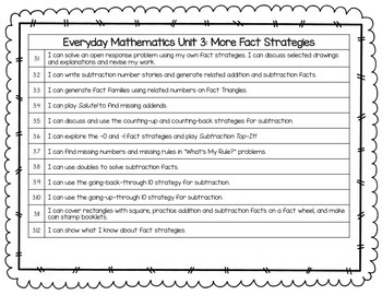 Everyday Math - I Can Statements/Objectives Units 1-9 {Grade 2}