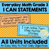 Everyday Math - I Can Statements/Objectives Units 1-9 {Grade 3}