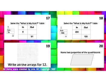 Everyday Math Indiana Version 2017 Unit 2 Review Task Cards