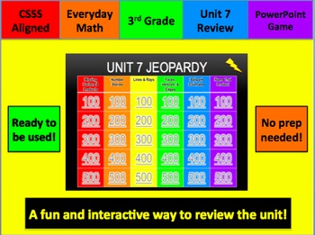 Everyday Math Jeopardy Unit 7 Grade 3
