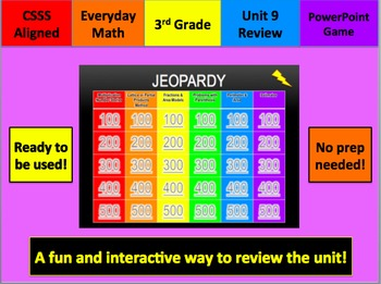 Everyday Math Jeopardy Unit 9 Grade 3