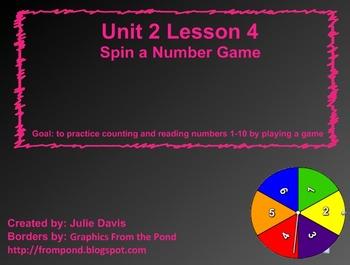 Everyday Math Kindergarten 2.4 Spin a Number Game