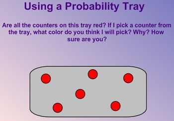 Everyday Math Kindergarten 3.11 Probability Tray