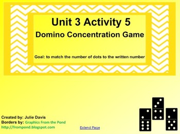 Everyday Math Kindergarten 3.5 Domino Concentration Game SmartBoard Activity