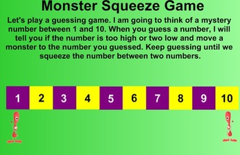 Everyday Math Kindergarten 3.6 Monster Squeeze Game