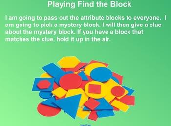 Everyday Math Kindergarten 5.3 Find the Block Game