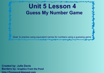 Everyday Math Kindergarten 5.4 Guess My Number Game