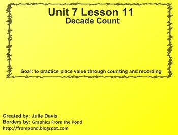 Everyday Math Kindergarten 7.11 Decade Count