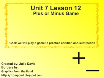 Everyday Math Kindergarten 7.12 Plus or Minus Game
