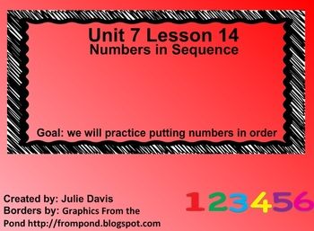 Everyday Math Kindergarten 7.14 Numbers in Sequence