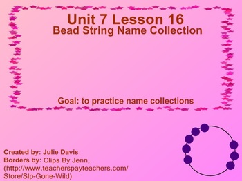 Everyday Math Kindergarten 7.16 Bead String Name Collections