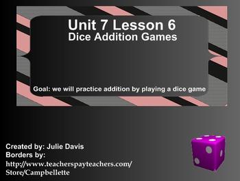Everyday Math Kindergarten 7.6 Dice Addition Games