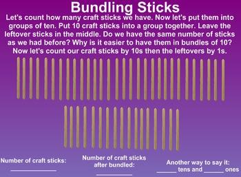 Everyday Math Kindergarten 7.8 10s and 1s with Craft Sticks