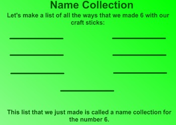 Everyday Math Kindergarten 7.9 Name Collections with Craft Sticks