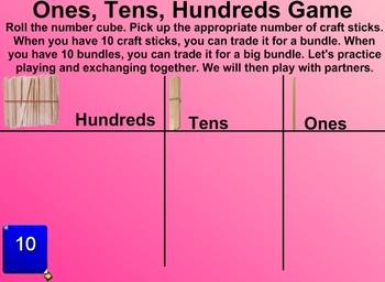 Everyday Math Kindergarten 8.1 Ones, Tens, Hundreds Game