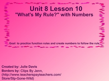 Everyday Math Kindergarten 8.10 What's my rule with numbers
