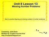 Everyday Math Kindergarten 8.13 Missing Number Problems