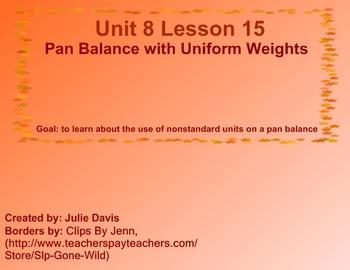 Everyday Math Kindergarten 8.15 Pan Balance with Uniform Weights